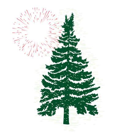 松やモミの木、針葉樹の木、自然のデザイン要素のベクトル常緑シルエット。  イラスト・ベクター素材