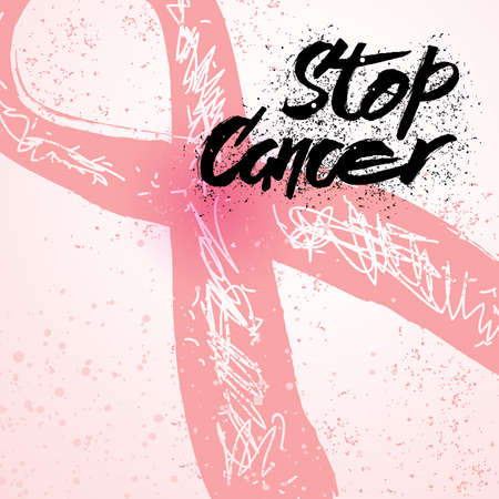 Stop Cancer hand drawn lettering for breast cancer awareness card. Breast cancer awareness typography. Breast cancer awareness design for card, flyer, banner, poster. Vector calligraphy typography.