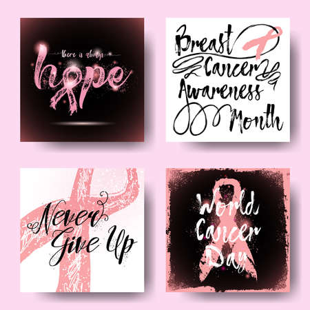 Set of pink ribbons symbols and cards for October breast cancer awareness month. Collection of hand drawn breast cancer awareness month inspirational quotes. Vector.