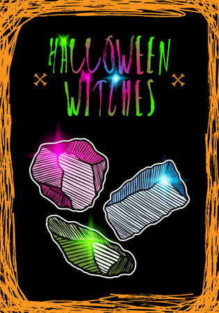 Halloween holidays card witch creepy concept. Hand drawn flyer posters and greeting card with handwritten calligraphy words quotes phrases of witchery and black magic. Vector.