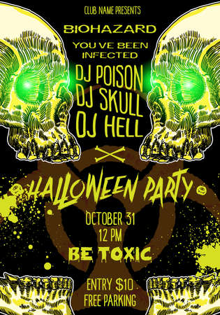 Hand drawn toxic Halloween celebration card or flayer with lettering biohazard infected and scary human skulls and skeleton parts. Halloween poster and banner decoration background. Vector. Illustration