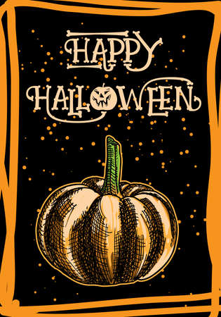 Happy Halloween hand drawn vector lettering.