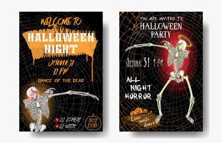 Halloween set of vertical background with skeletons dancing