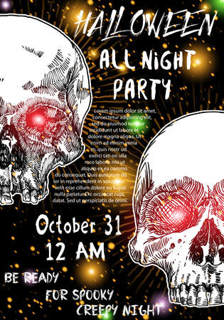 Stylish black, orange, white Halloween invitation poster or card with skulls background.