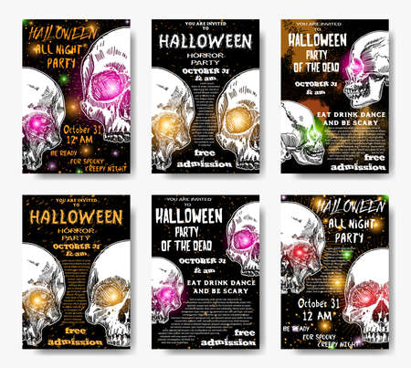 Collection of stylish black, orange, white Halloween invitation posters and cards with skulls background.