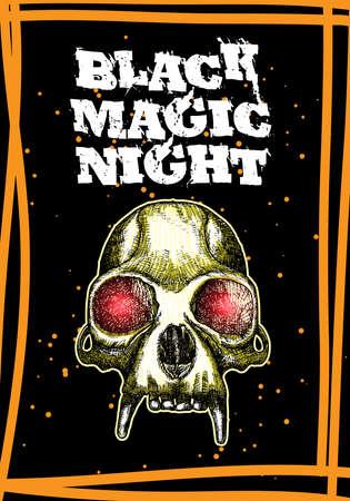 Halloween-vakantiekaart heksen griezelig concept. Hand getrokken flyer posters en wenskaart met handgeschreven kalligrafie woorden citaten zinnen van hekserij en zwarte magie. Vector.