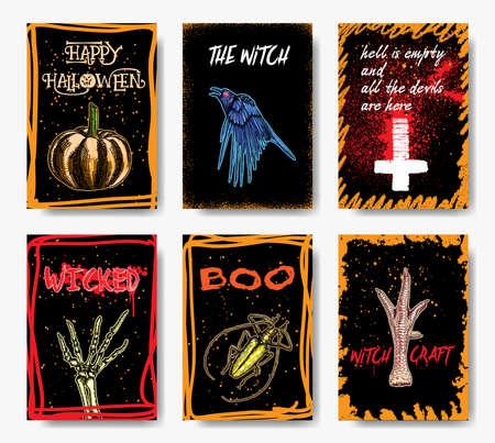 Halloween hand drawn invitation flyers or greeting cards set. Vector. Çizim