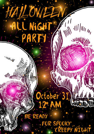 Stylish black, orange, white Halloween invitation poster or card with skulls background. Printable hand drawn Halloween greeting flayer template with space for text. Vector. Illustration