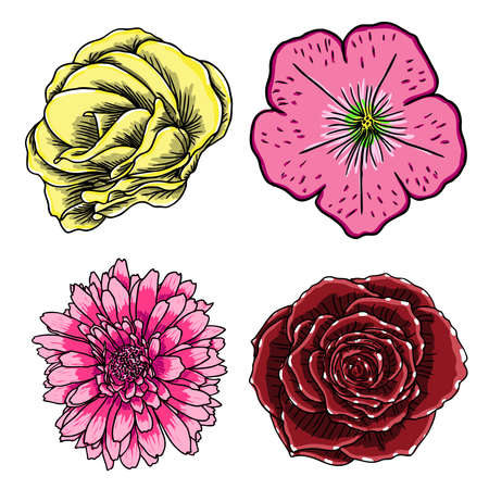 Tropical flowers icon set