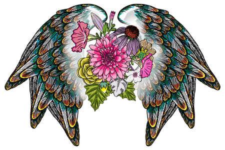 Ornate fashioned wings and elegant vintage flowers Çizim
