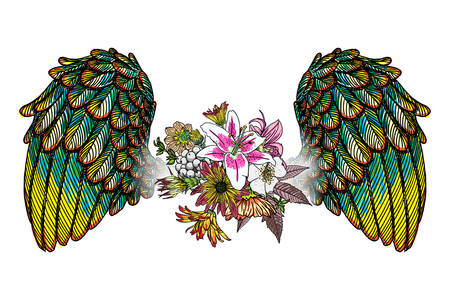 Ornate fashioned wings and elegant vintage flowers Vettoriali