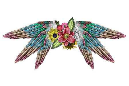 Ornate fashioned wings and elegant vintage flowers Illustration