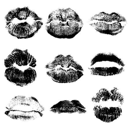 Print of black Gothic lips set design elements.