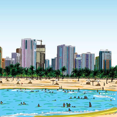 Hand drawn sketch of Marina Dubai UAE Illustration.  イラスト・ベクター素材