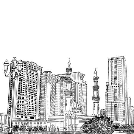 Hand drawn sketch of Mosque with skyscrapers in Dubai Marina district, UAE Illustration, vector.
