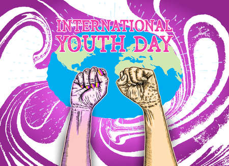 International Youth Day, IYD is an awareness day designated by the United Nations. The purpose is cultural and legal issues surrounding youth.  Annual celebration on August 12. Vector.