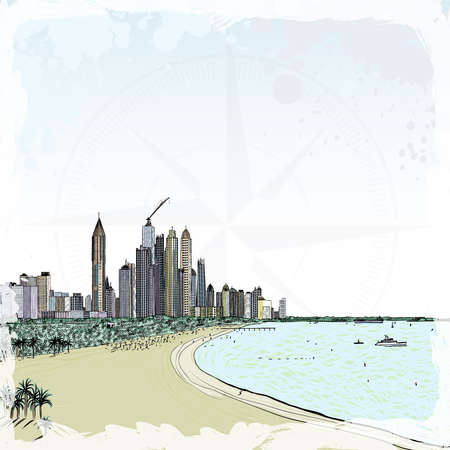 Watercolor sketch of monorail ride view from window at The Palm Jumeirah skyscrapers at Dubai Marina.  イラスト・ベクター素材