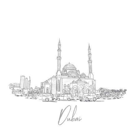 벡터에서 모스크와 두바이 스카이 라인의 손으로 그려진 된 스케치