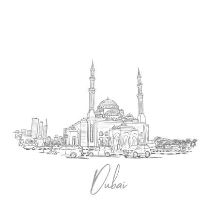 Hand drawn sketch of Dubai Skyline with mosque in vector. Ilustração