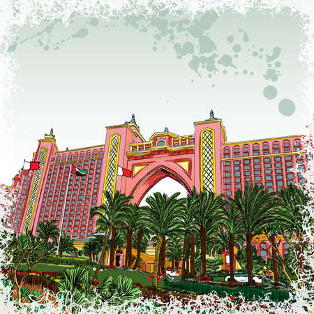 Atlantis, the palm is a luxury hotel resort located at the Jumeirah Palm in the United Arab Emirates. The world famous hotel in Dubai hand drawn sketch vector.