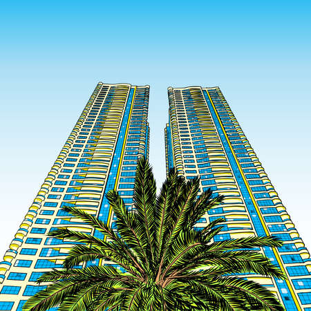Hand drawn sketch of Dubai luxury hotel or tall building skyscraper with the palm from below. Çizim