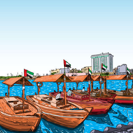 Old traditional boats on the Bay Creek in Dubai, United Arab Emirates, UAE.
