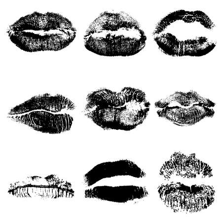 Print of black gothic lips set. World kiss day, Valentines day design elements. Vector.  イラスト・ベクター素材