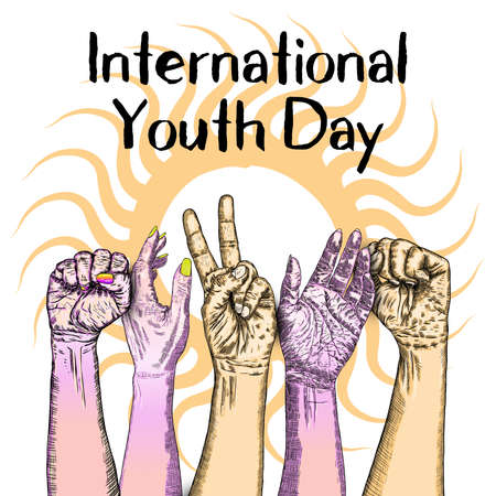 International Youth Day, IYD is an awareness day designated by the United Nations. Illustration