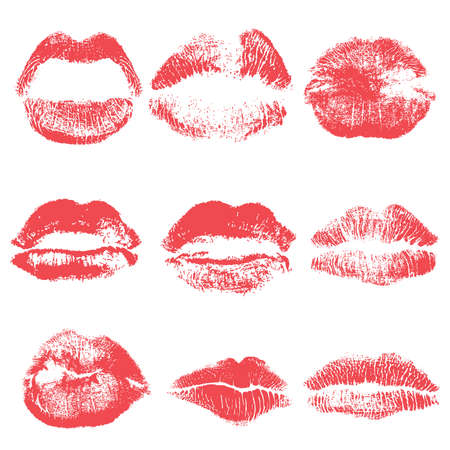 Female kiss shape lips illustration set. Woman sexy mouth stain isolated on white background. Handmade facial expression and red lipstick vector.