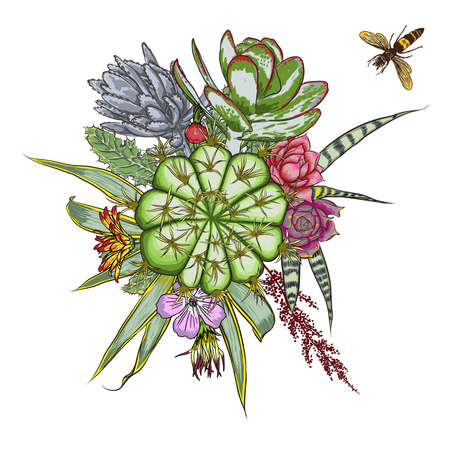 Stylish watercolor imitation with green and red flowers bouquet. Insects and bugs flying over the rose, succulent, eucalyptus, daisy, cactus. Floral bunch. Fresh mood composition. Isolated. Vector. Illustration
