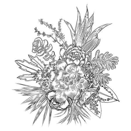 Composition de plantes succulentes, cactus, plantes vertes, dessin botanique. Bouquet noir et blanc dessiné à la main. Concept de tatouage de chair. Page de livre de coloriage. Toutes les fleurs sont modifiables séparément. Vecteur.