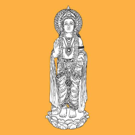 Disegno classico della statua di Lord Murugan, Dio della guerra, figlio di Shiva e Parvati noto anche come Skanda. Vettore.