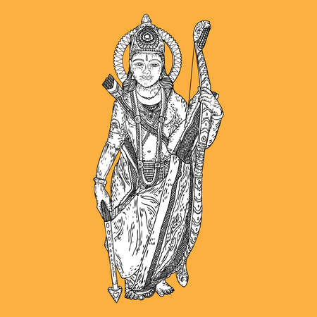 Lord Rama classic drawing for Happy Dussehra Navratri celebration in India holiday. Isolated on background. Vector.