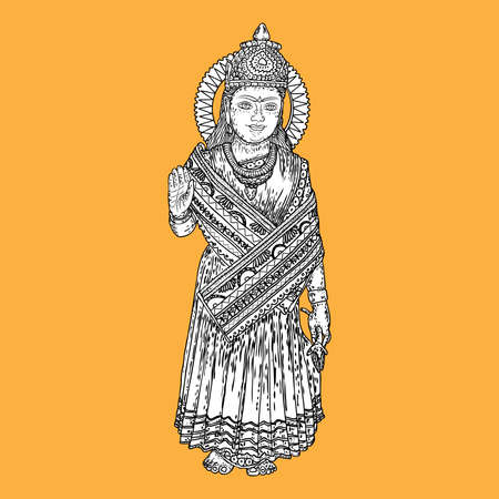Devi Parvati classic traditional Hindu deity hand drawing. Vector.
