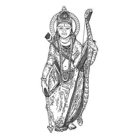 Hand drawn illustration of Lord Rama for Navratri festival for Happy Dussehra. Vector. Illustration