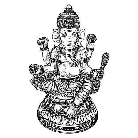 Hand drawn illustration of Lord Ganpati for  Ganesh Chaturthi festival background. Vector.