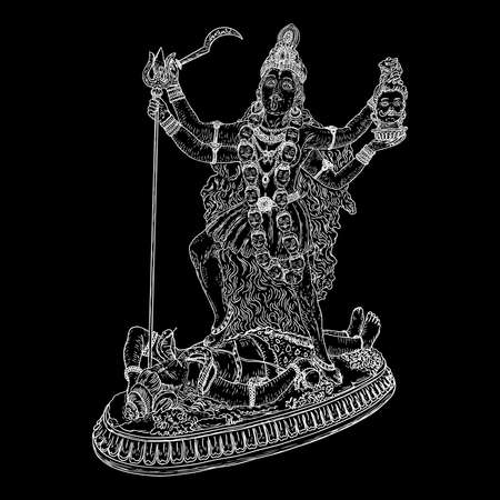 Indian hindi goddess Kali also known as the Dark Mother. Vector illustration.