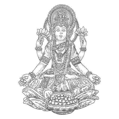 Hand drawn Lakshmi goddess. Is the goddess of blessing, abundance, prosperity, wealth, luck and happiness. Symbol of Diwali, a light festival of India. Vector. Иллюстрация