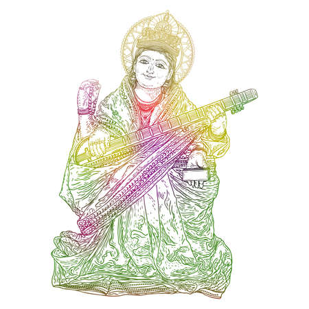 Hand drawn illustration of Goddess Saraswati for Vasant Panchami Puja of India. Goddess of learning, music, art and wisdom. Vector. Иллюстрация