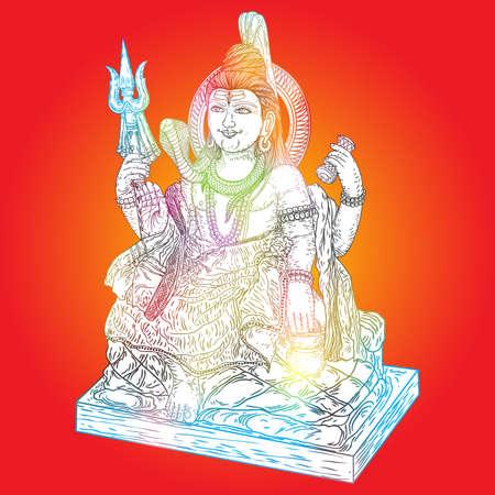 Lord Shiva, hand drawn classic Maha Shiwaratri background. Maha Shivratri festival. Isolated. Vector.