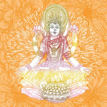 Lakshmi es una diosa hindú y vaishnava de la riqueza y la prosperidad, la esposa de Vishnu y un símbolo de Diwali, un festival de luces de la India. Vector dibujado a mano.