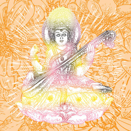 Goddess of learning, music, art and wisdom. Saraswati playing a lute for Vasant Panchami India festival background. Hand drawn vector.
