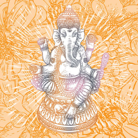 Illustration of Lord Ganpati or Ganesha. Ganesh Chaturthi festival for Prayer to Lord Ganesha birth. Hand drawn classic design.