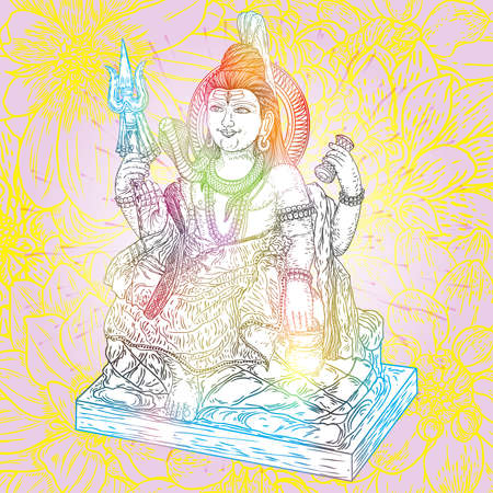 Lord Shiva, hand drawn classic Maha Shiwaratri background. Maha Shivratri festival. Isolated. Vector.
