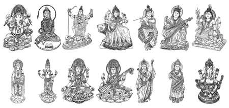 Set of Gods for Indian festival, Goddess Durga, Lord Rama and Hanuman. Lord Ganpati or Ganesha, Shiva and Lakshmi his wife. Lord Vishnu,  Saraswati, Devi Parvati  and Lord Murugan, Kali. Vector. Çizim