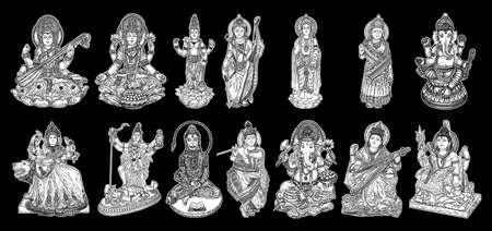 Set of Gods for Indian festivals, Puja in Dussehra Vijayadashami Navratri, for Ganesh Chaturthi or Vinayaka and Chavithi, for Maha Shiwaratri or Shivratri, for Diwali and for Vasant Panchami. Vector.