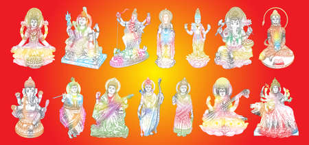 Set of Gods for Indian festival, Goddess Durga, Lord Rama and Hanuman. Lord Ganpati or Ganesha, Shiva and Lakshmi his wife. Lord Vishnu,  Saraswati, Devi Parvati  and Lord Murugan, Kali. Vector. Иллюстрация