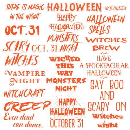 Halloween lettering phrases overlay set. Scary quotes. Spooky holiday typography. Calligraphy photo graphic and flyer invitation design element. Hand made signs. Vector. Illustration