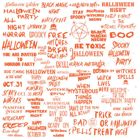 Ensemble de citations d'Halloween pour des affiches sur la fête d'Halloween et des phrases effrayantes pour des conceptions et des dépliants d'art mural imprimables pour cartes de voeux, différentes collections de calligraphie de polices. Vecteur.