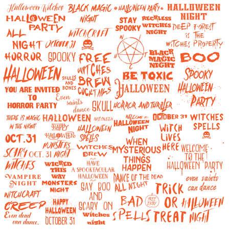 Set di citazioni di Halloween per poster sulla festa di Halloween e frasi spaventose per biglietti di auguri e volantini stampabili da parete, collezione di calligrafia con diversi font. Vettore.